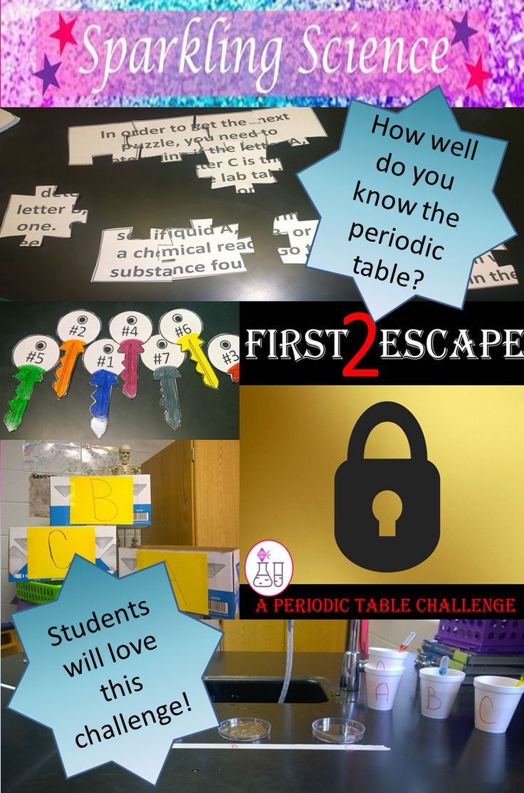 Have you tried the Escape Room challenges?  You will love this PERIODIC TABLE version!  Be the first one to find the key to the locked classroom.