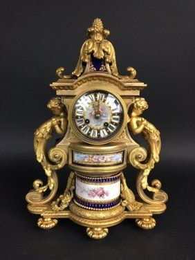 19TH CENTURY JEWELLED SEVRES AND ORMOLU CLOCK