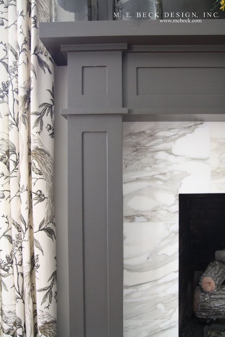 Gray painted fireplace surround