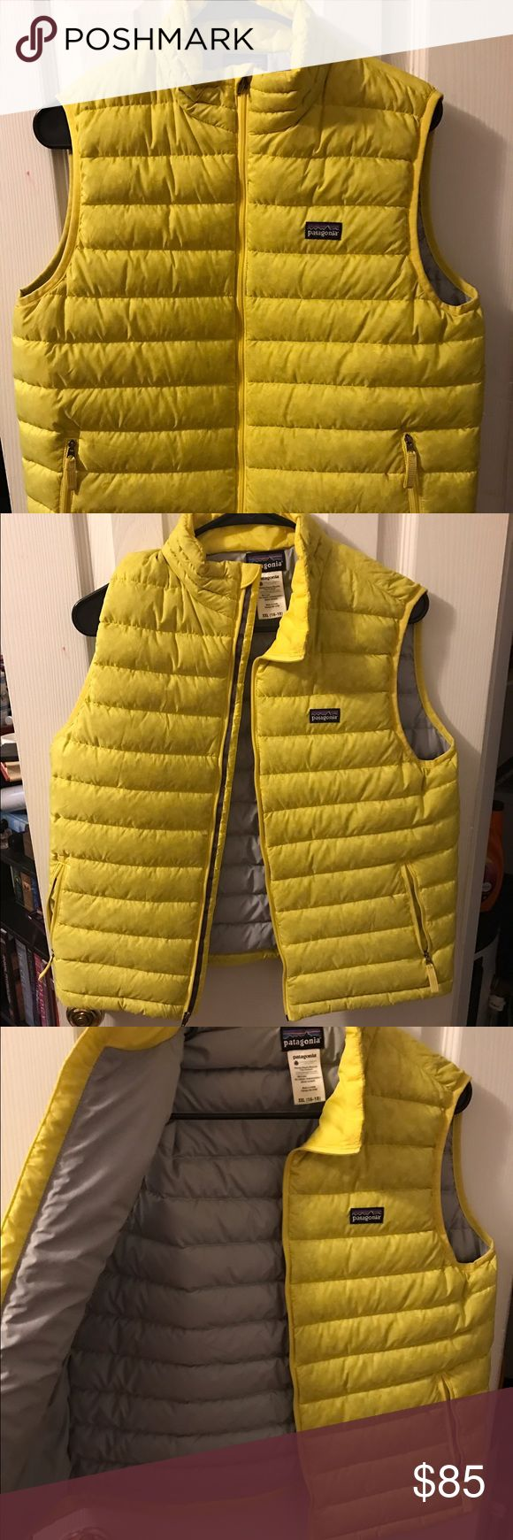 Patagonia down sweater vest in bright yellow Patagonia down filled bright yellow vest- never get lost in the woods. Size kids xxl, but fits great as a small to medium woman Patagonia Jackets & Coats Vests