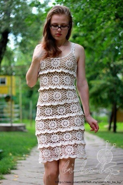 Платье вязаное ярусами крючком, схема фото #2