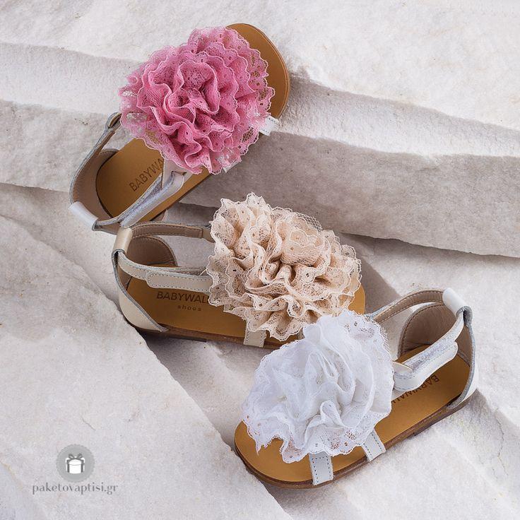 Δερμάτινα Μονόχρωμα Πεδιλάκια για Κορίτσια με Δαντελένιο Λουλούδι Babywalker EXC5530