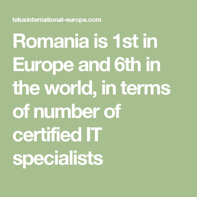 Romania is 1st in Europe and 6th in the world, in terms of number of certified IT specialists