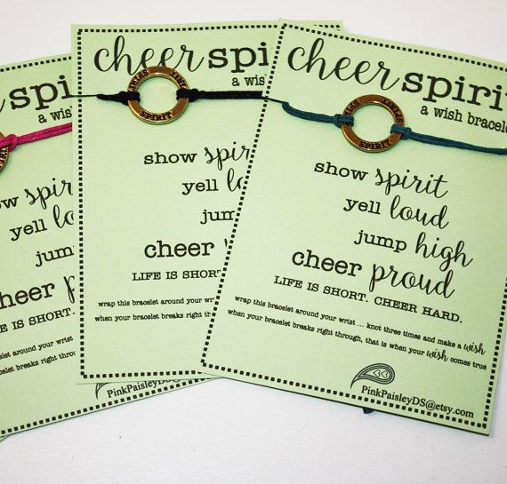 12 Cheer Spirit Wish Bracelets  Pick Your Color ... Great for