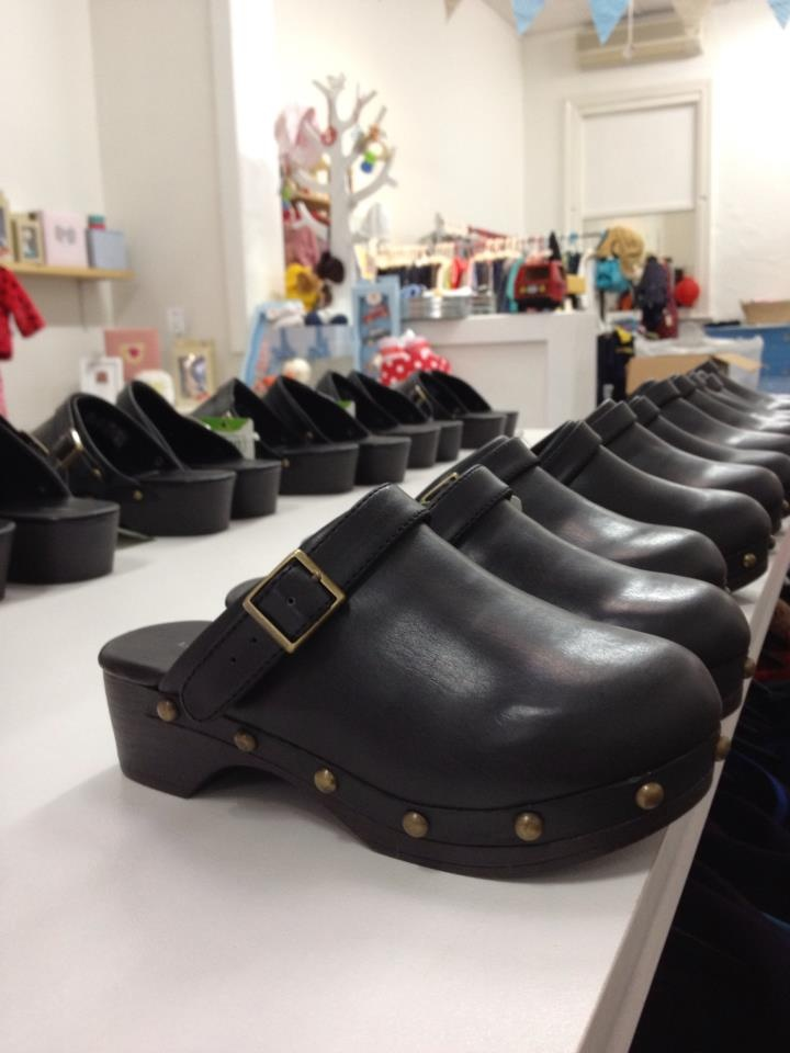 Leather clogs. Sizes: toddler 9 to kids size 7. $39.95