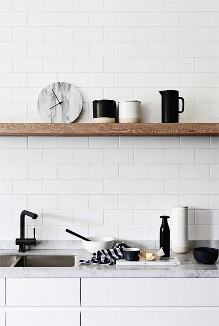subway tiles & timber shelf