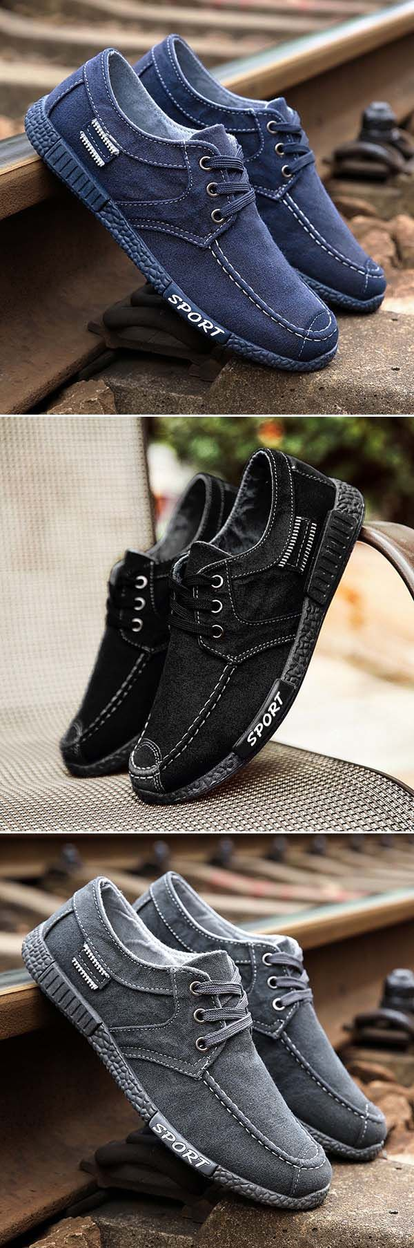 US$15.89#Men Old Beijing Style Canvas Breathable Lace Up Casual Shoes