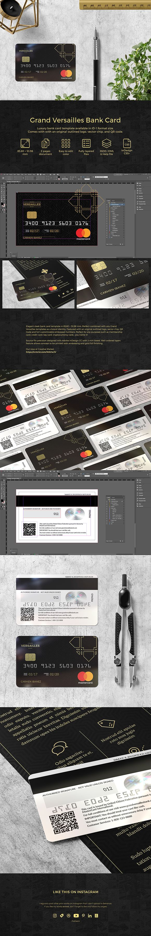 This is a first card template in my shop, Grand Versailles Bank Card. Instruction and user guide included in the help file. Perfect for any purposes such as membership card, credit card, key card, cryptocurrency card... you name it! ($7). #ad #adobeindesign #bank #bankcard #black #branding #card #creditcard #cryptocurrency #cryptocurrencycard #debitcard #design #elegant #gold #graphicdesign #identity #indesign #luxury #membership #prepaidcard #print #printdesign #printemplate #template