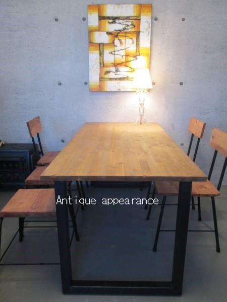 アンティーク風ダイニングテーブル・角鉄脚アイアン テーブル…