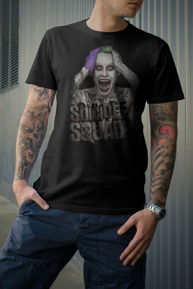 Suicide Squad Joker Tshirt. Great gift for him or her. Joker T-shirts available in Men's and Women's clothing and tank tops by PopCultureStore on Etsy #suicidesquad #thejoker #etsy #dccomics #dc #thejoker #joker