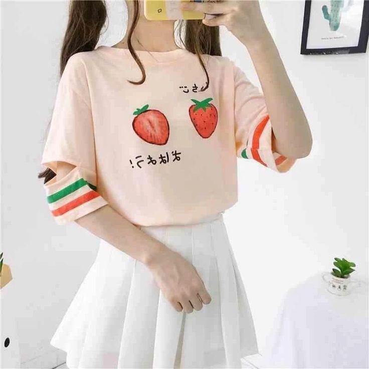 Kawaii Strawberry Pastel Harajuku Shirt - KawaiiTherapy - Source by vanessahartmanneck - Japanese Outfits, Korean Outfits, Mode Outfits, Japanese Fashion, Korean Fashion, Girl Outfits, Fashion Outfits, Grunge Outfits, Pastel Fashion