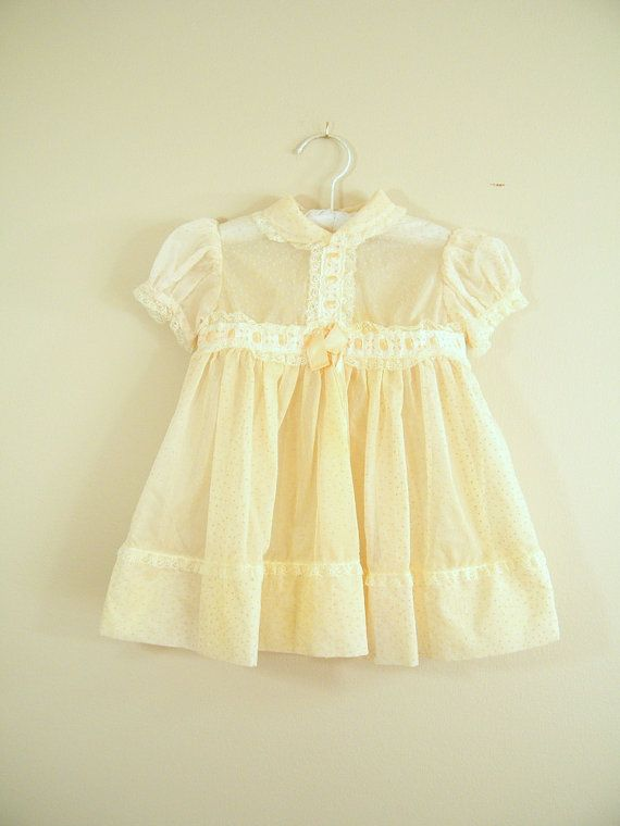 Vintage 1950s Baby Dress / Dotted Swiss / Sheer / Cream