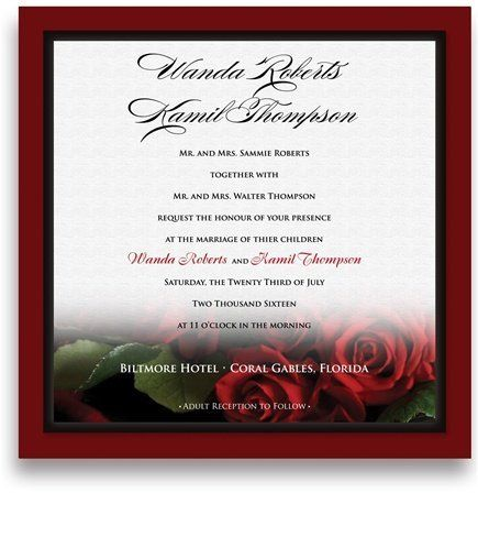 160 Square Wedding Invitations - Red Red Wine Roses in White by WeddingPaperMasters.com. $419.20. Now you can have it all! We have created, at incredible prices & outstanding quality, more than 300 gorgeous collections consisting of over 6000 beautiful pieces that are perfectly coordinated together to capture your vision without compromise. No more mixing and matching or having to compromise your look. We can provide you with one piece or an entire collection in a one...