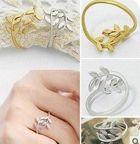 Min Order $10(Mix Order)Free Shipping!Korean Korean jewelry lovely leaf leaves ring $0.34