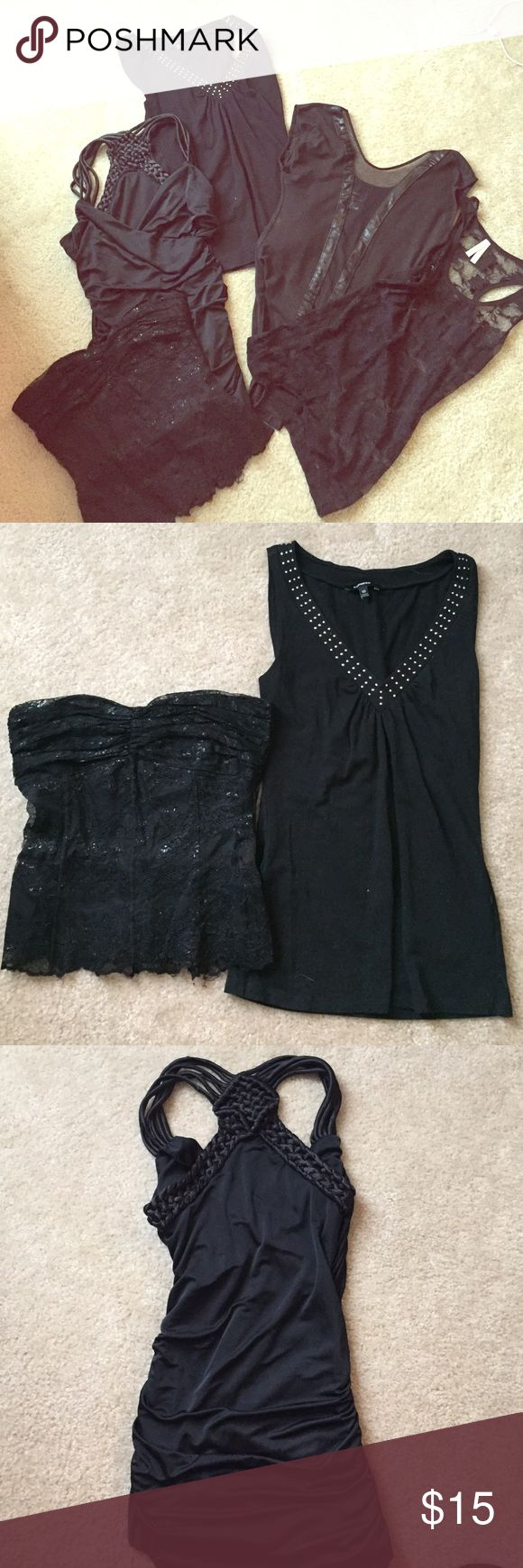 Lot of Black Going Out Tops ⚫️Black strapless, sweetheart neckline Limited top, zips up the back- size 4 ⚫️NO LONGER INCLUDED--Black, sheer bodysuit with sheer, see through down the middle with faux leather trim⚫️ Black lace, see through top- size S ⚫️ Shiny, black, long tank top with braided straps- size S ⚫️ Black Express Tank Top with rhinestones. No missing rhinestones- size XS. Can be split up if necessary Express Tops Tank Tops