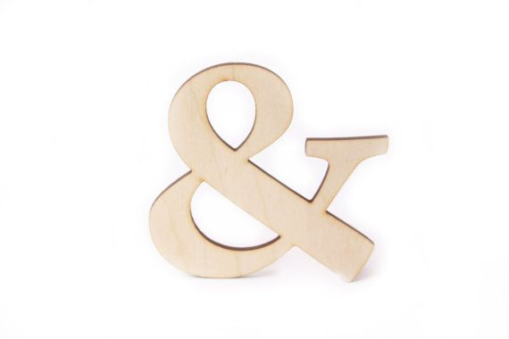 wooden ampersand, 4'' unfinished wooden letter, plain wood, & wooden sign, home decor, wedding, scrapbooking, Valentine's day, couple, love