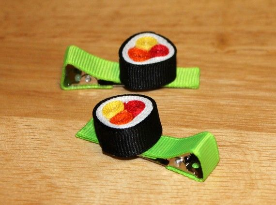 Kim: These will match MG's new fabric!! Sushi hair clips