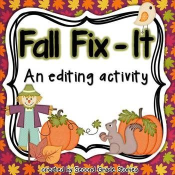 Fall is here - and so is another fix-it freebie!  I use this type of activity often in my second grade class.  Sometimes I make it a center for students to work during Word Work.  Other times, I use the activity with the whole class at once.    There are 6 sentences included in this activity.