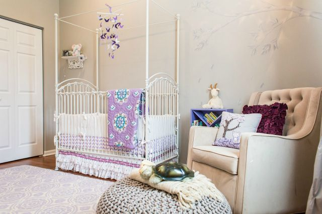 Eclectic Purple and Taupe Nursery - #nursery #lavender: Purple Nurseries, Taupe Nurseries, Projects Nurseries, Baby Girls, Baby Bedrooms, Foxes Eclectic, Eclectic Purple, Baby Nurseries, Baby Cribs