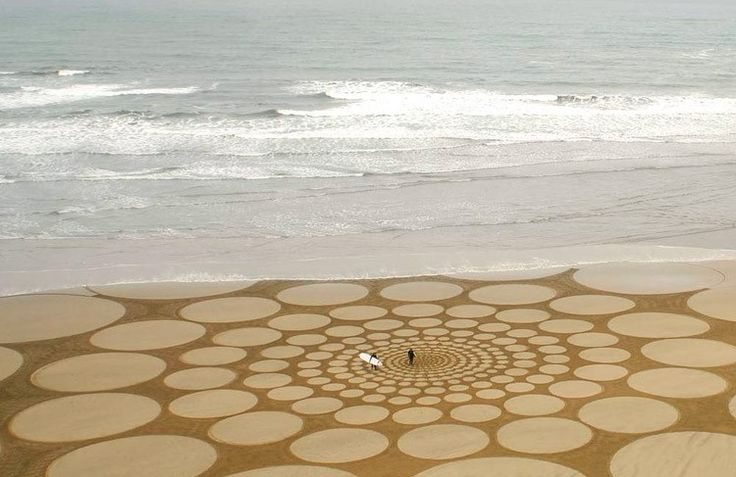 Dit gemaakt met enkel een hark of een stuk wrakhout. De zandkunst van Jim Denevan. monumentale tekeningen in het zand, overal ter wereld. Jammer het water neemt ze terug mee.