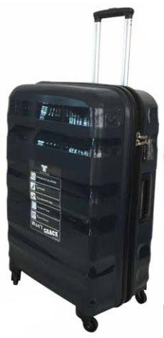 Tosca Flite PP Spinner Range 75cm Trolley Case @ R1300 (Available Black/Black, Dark Grey/Black, Purple/Dark Grey, Red/Dark Red)  Specs. 4.9 kg, 54 x 32 x 79cm  Code:291LL75 Features: Recessed Locking Handle, PP Shell, High Impact Resistant & Durable, Fully Lined Interior, TSA Combination Zip Locks, Internal 4 Wheel Spinner, Inside Divider