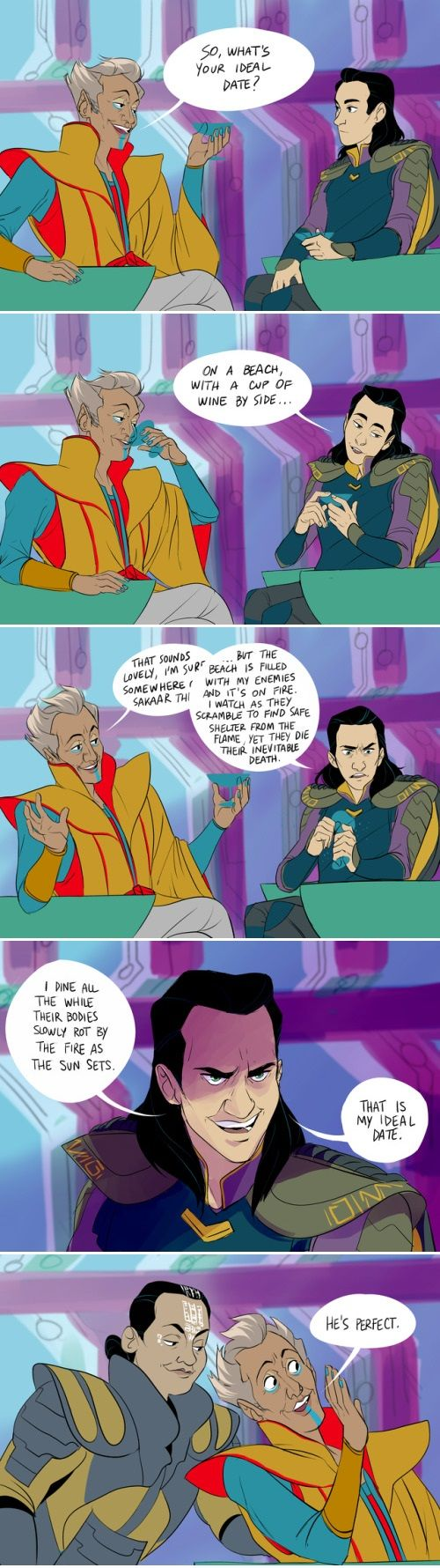 Thor: Ragnarok spoilers. Loki impressing the Grandmaster.
