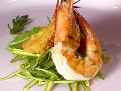 Grilled Shrimp with Zucchini, Almonds and Panelle Recipe | Anne Burrell | Food Network