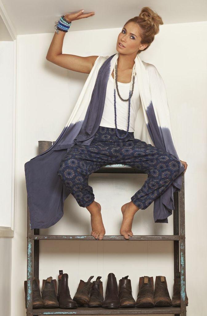 Blue print pants & silk tie dye sleeveless vest - part of the SanCerre Spring Summer 13/14 range. Available online end July 2013 at www.sancerre.com.au