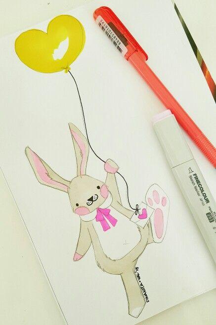 Heart fly ballon bunny by dinanita