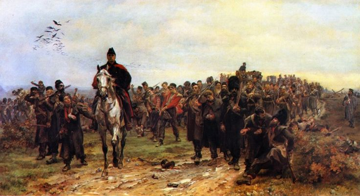 Return from Inkerman by Lady Butler: showing British infantry returning from the Battle of Inkerman on 5th November 1854 in the Crimean War.  To purchase a print of this picture click on the caption.
