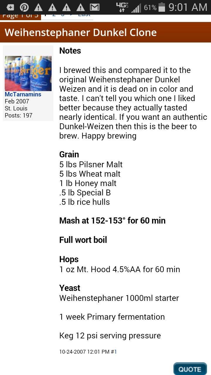 255 best home brewing images on pinterest beer recipes homebrew dunkel weissbier nvjuhfo Images