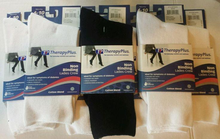 Ladies Diabetic Socks Non-binding Crew Lot of 7 White Black Shoe Sz 6-10 NEW  #TherapyPlus