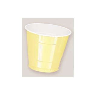 Plastic Light Yellow Cups. There are 20 Plastic Cups per package. These 9 ounce cups come in 22 colours to match any theme or event.
