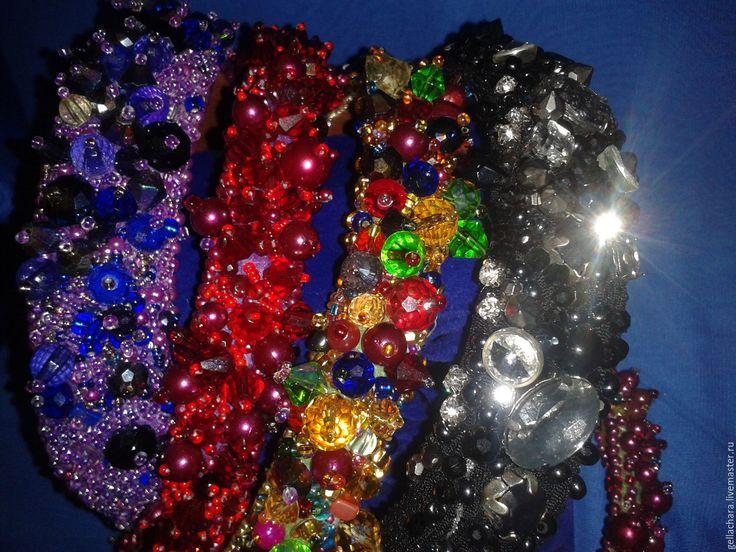 Купить Ободок Фиолетовый - фиолетовый, ободок для волос, аксессуары для фотосессий, гламурный, Ободок с камнями, бусины