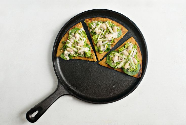 Socca Flatbread with Avocado, Cilantro Pesto and Tahini recipe, inspired by LPQ's Avocado Toast.