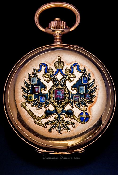 A SUPERB AND RARE ~ Antique Russian Imperial presentation rose gold pocket watch by Paul Buhre (Pavel Bure), watchmaker to the Emperors of Russia. The cover is decorated with an enameled gold double headed Imperial eagle, circa 1916. Imperial watches with multi-color enameled eagle are very rare.