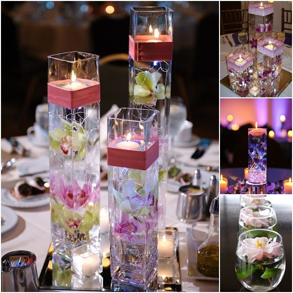 Floating-candle-centerpiece. Several different centerpiece ideas here!