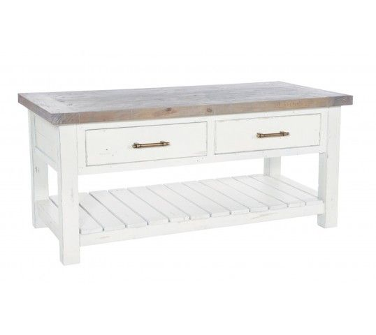 The Purbeck Coffee Table with drawers has a under shelf storage and two useful drawers with brass bar handles and will be a practical centrepiece for any living room. Made from reclaimed materials, with a driftwood timber top contrasting against its on-trend distressed white painted base, this piece would perfectly adapt itself into any modern living space as well as seamlessly blend into a country styled home. Versatile and gorgeous, the Purbeck collection will transform your home.