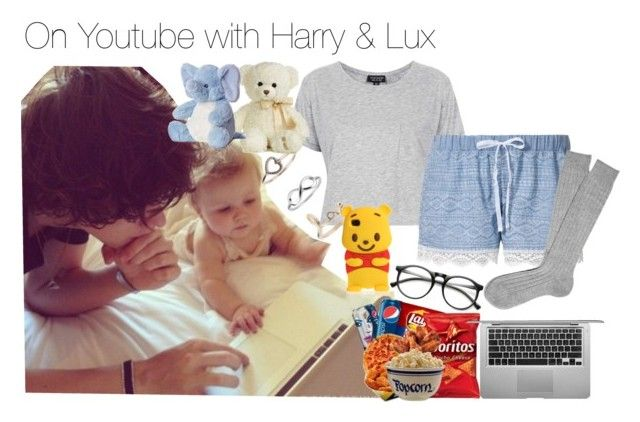 """""""Watching Youtube Videos with Harry & Lux in bed"""" by maaaaddiiiii ❤ liked on Polyvore featuring Topshop, Miss Selfridge, INDIE HAIR and Aurora World"""