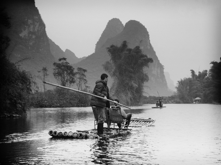 Rafting in Yangshuo on a mild winter's day.