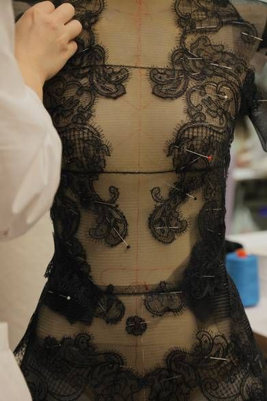 Fashion in the making - creating a couture dress - moulage; fashion design studio; fashion atelier behind the scenes; dressmaker at work // Armani