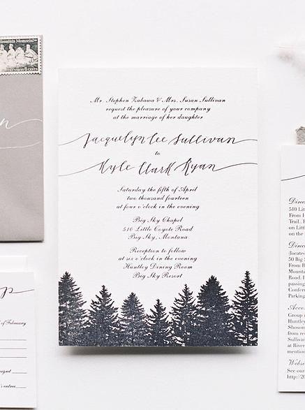 Cast Calligraphy - Big Sky Winter Wedding Invitation