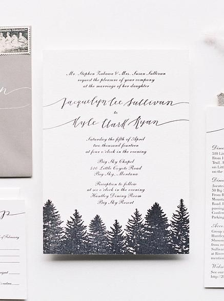 Cast Calligraphy - Big Sky Winter Wedding Invitation