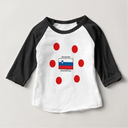 Slovenian Language And Slovenia Flag Design Baby T-Shirt - individual customized unique ideas designs custom gift ideas