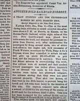 JESSE JAMES-Younger Brothers Train Robbery MUNCIE KS Kansas City 1874 Newspaper