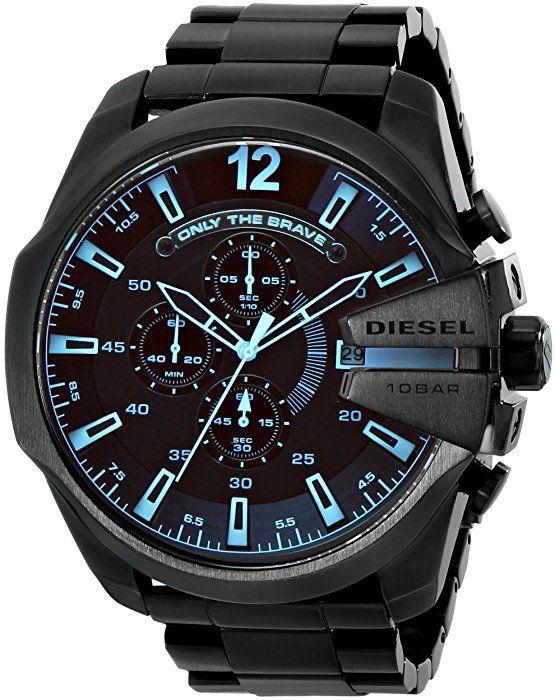 Diesel Men's DZ4318 Mega Chief Black Ip  Watch