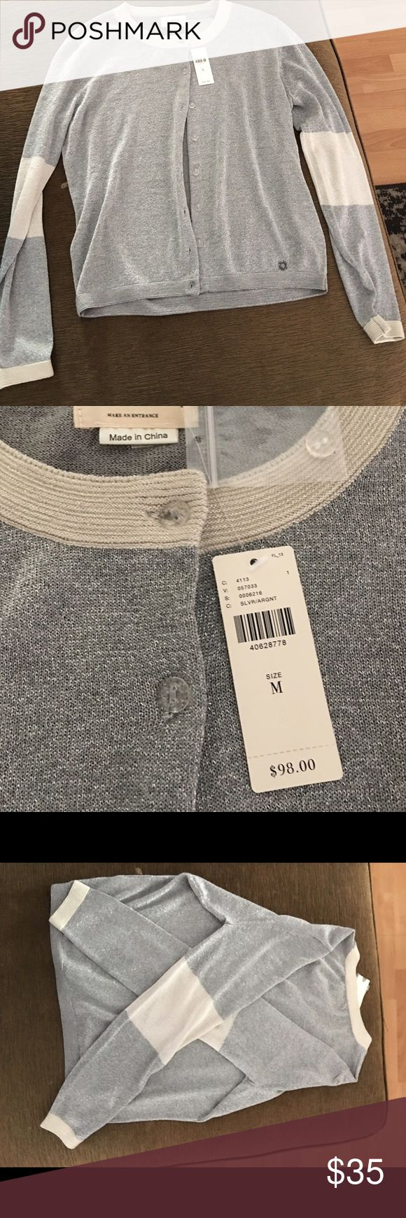 Silver Cardigan/white elbow patches- Size M Anthropologie brand...Super cute, soft classy cardigan. Silver with white elbow patches that go all the way around. You can dress up or wear it casually. Anthropologie Tops Button Down Shirts