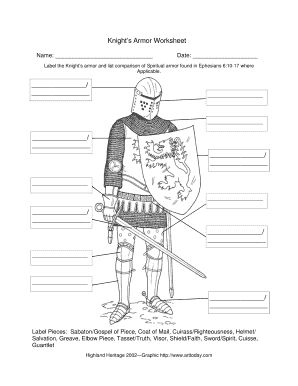 Fill Knights Armor Worksheet Pdf, download blank or