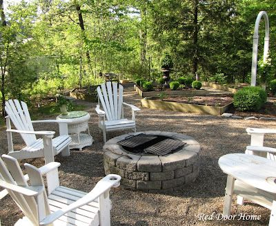pebbles: Red Doors, Firepit Furniture, Firepit Jpg, Adirondack Firepit, Firepit Area, Stones Firepit Doesn T, Outdoor Spaces, Firepit In Backyard, Fire Pit