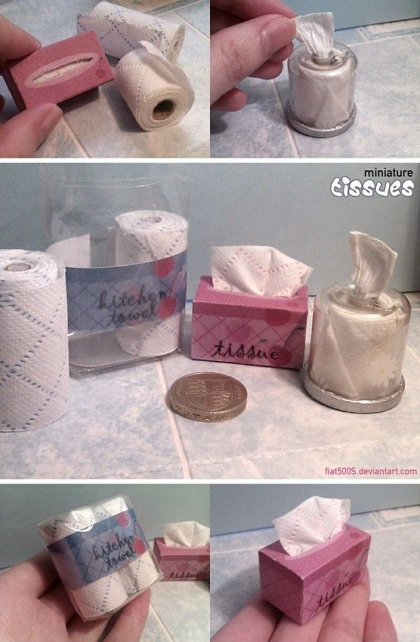 Dollhouse Miniature Toilet Paper, Paper Towel & Tissue